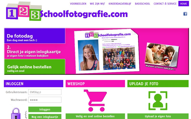 Voorbeeld Inlog 123schoolfotografie.com