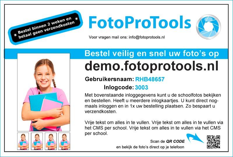 Voorbeeld inlogkaartje FotoProTools